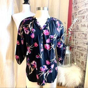YUMI KIM Silk Floral Print Henley Blouse XS